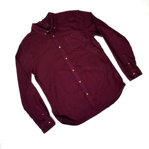 Vans Maroon Long Sleeve Button Front Shirt